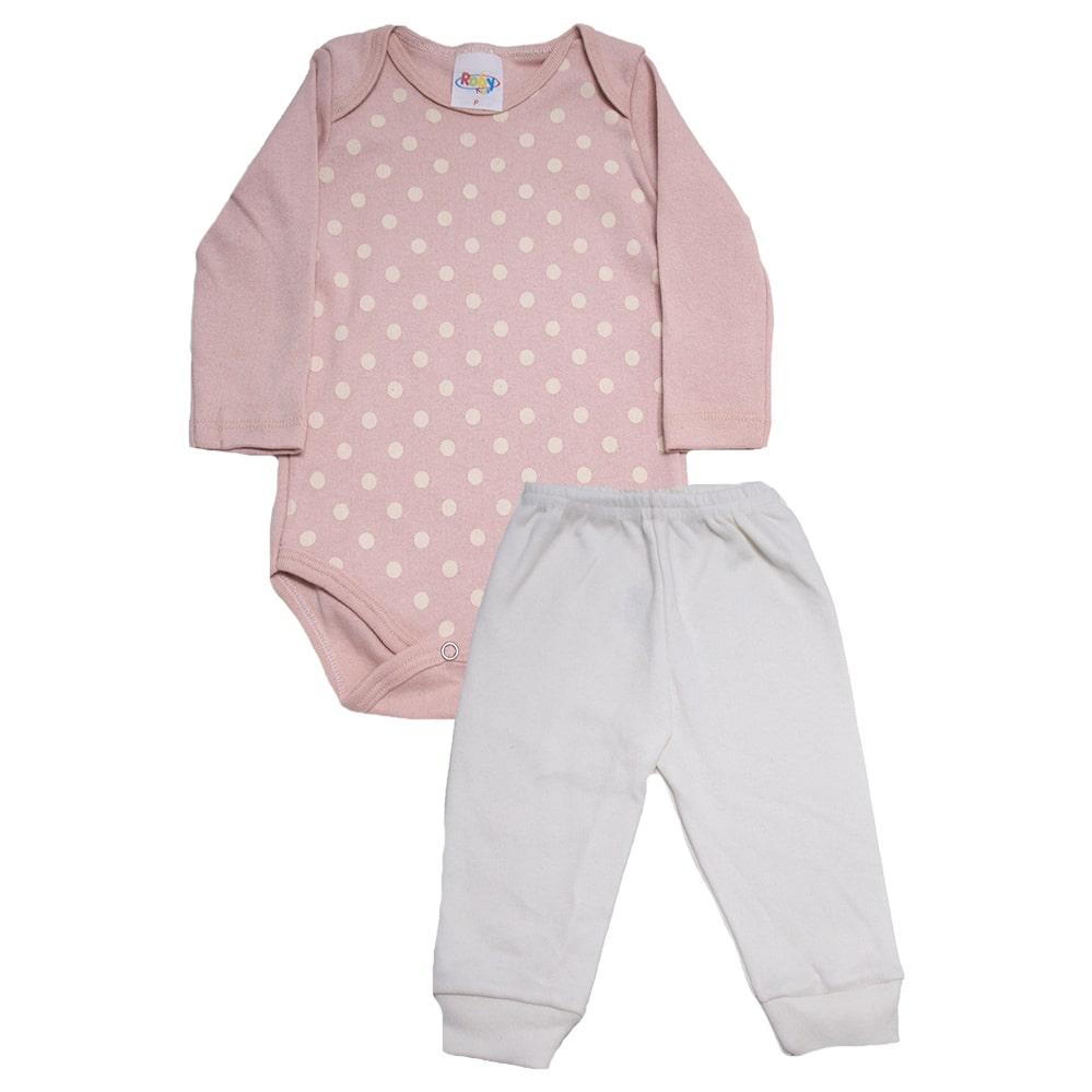 Conjunto Bebê Body Poá Rose  - Jeito Infantil