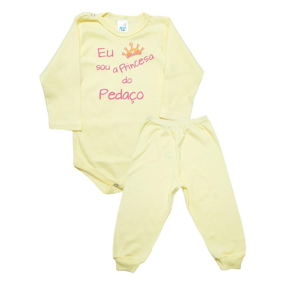 Conjunto Bebê Body Princesa Do Pedaço Amarelo Com Rosa  - Jeito Infantil