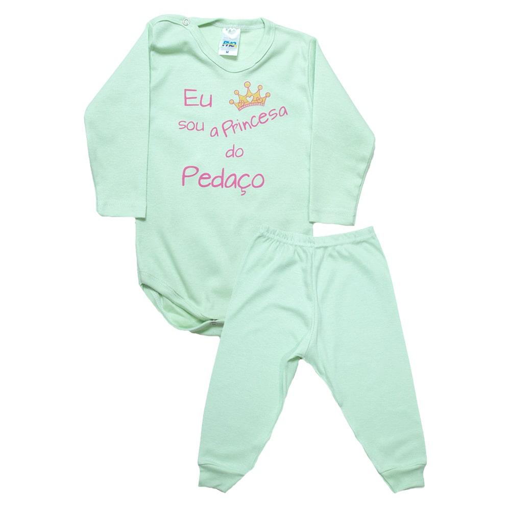 Conjunto Bebê Body Princesa Do Pedaço Verde Com Rosa  - Jeito Infantil