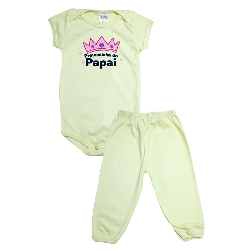 Conjunto Bebê Body Princesinha Do Papai Amarelo  - Jeito Infantil