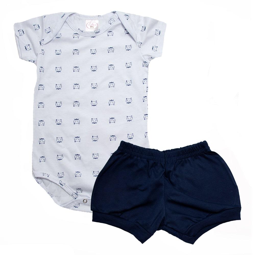 Conjunto Bebê Body Raposa Branco e Marinho  - Jeito Infantil