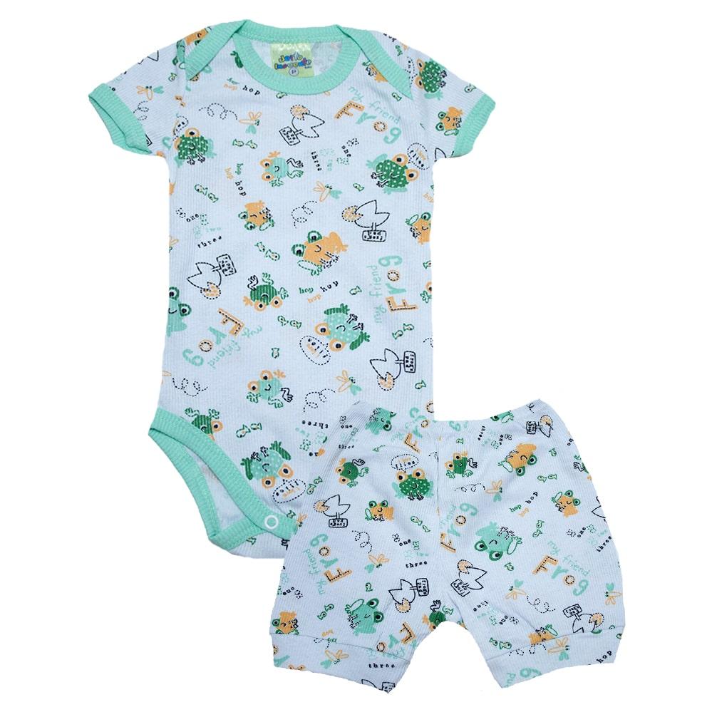 Conjunto Bebê Body Sapinho Branco e Verde  - Jeito Infantil