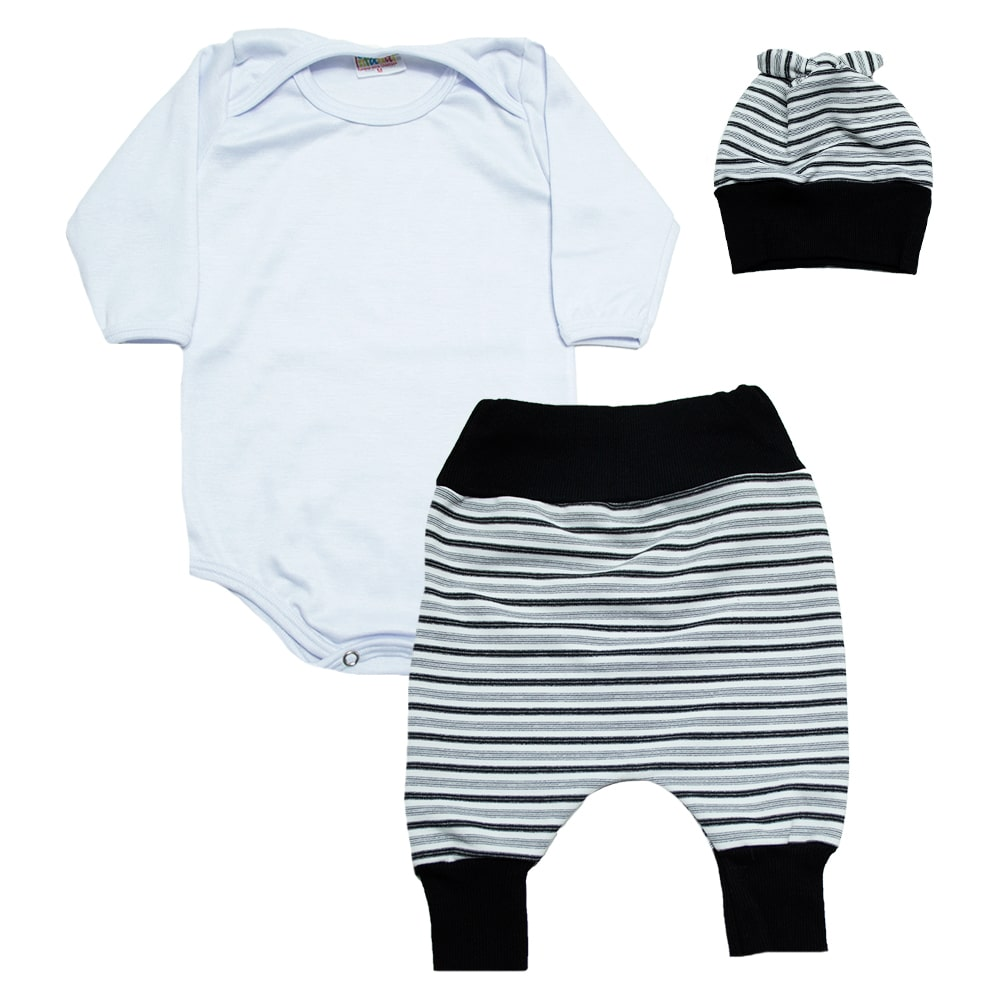 Conjunto Bebê Body, Saruel e Touca Branco  - Jeito Infantil