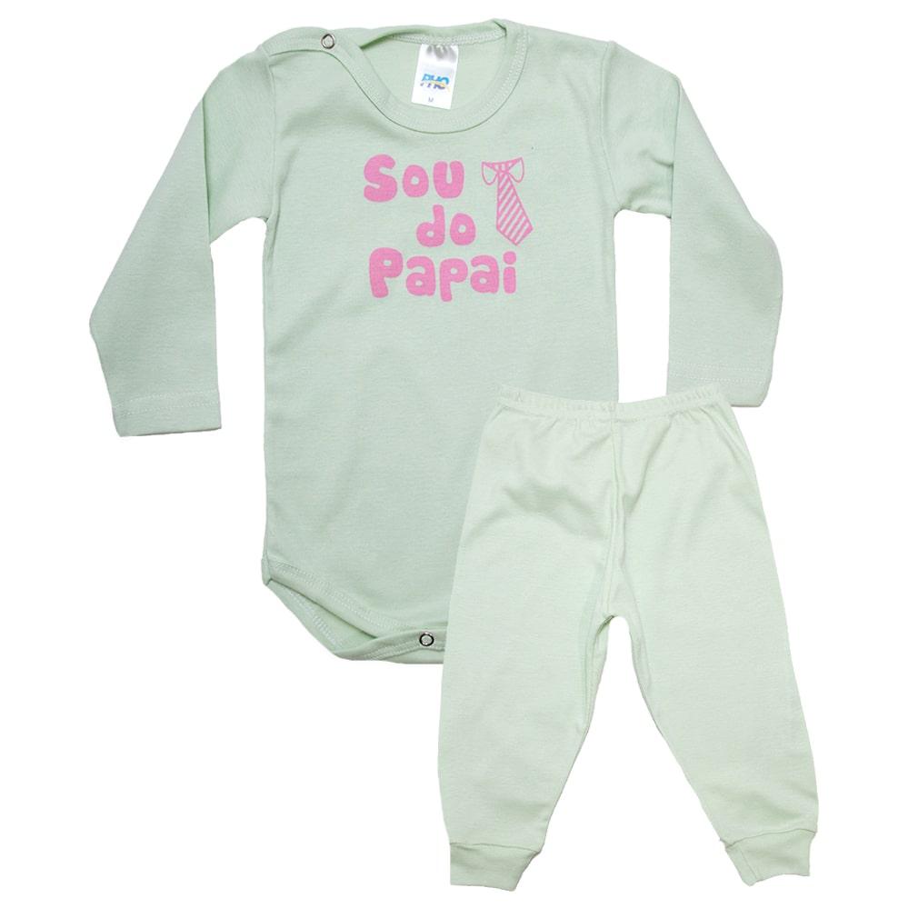 Conjunto Bebê Body Sou Do Papai  Verde Com Rosa  - Jeito Infantil