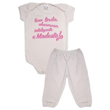 Conjunto Bebê Body Sou Linda Pérola  - Jeito Infantil