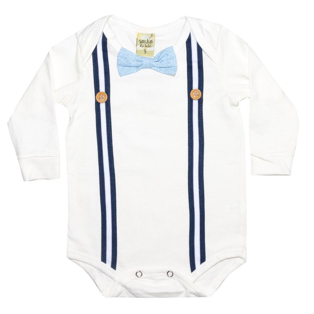 Conjunto Bebê Body Suspensório Pérola Com Marinho  - Jeito Infantil