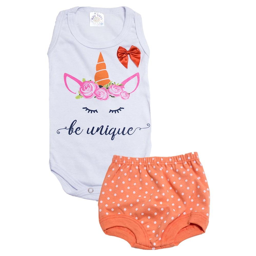 Conjunto Bebê Body Unicórnio Branco  - Jeito Infantil