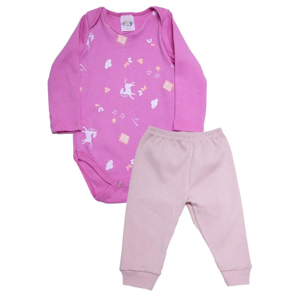 Conjunto Bebê Body Unicórnio Pink  - Jeito Infantil