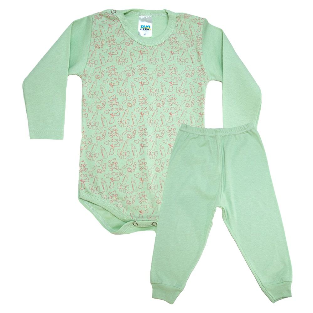 Conjunto Bebê Body Ursinhos Verde  - Jeito Infantil