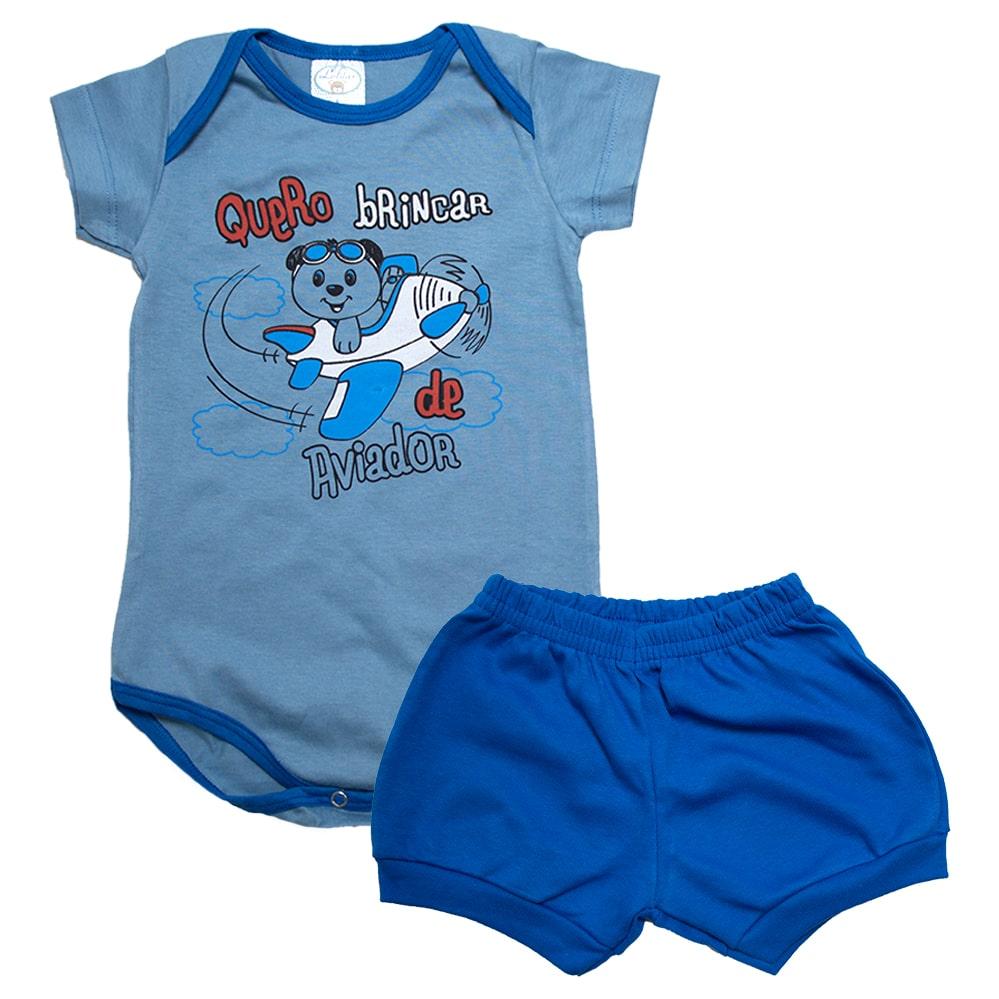 Conjunto Bebê Body Urso Aviador  Azul   - Jeito Infantil