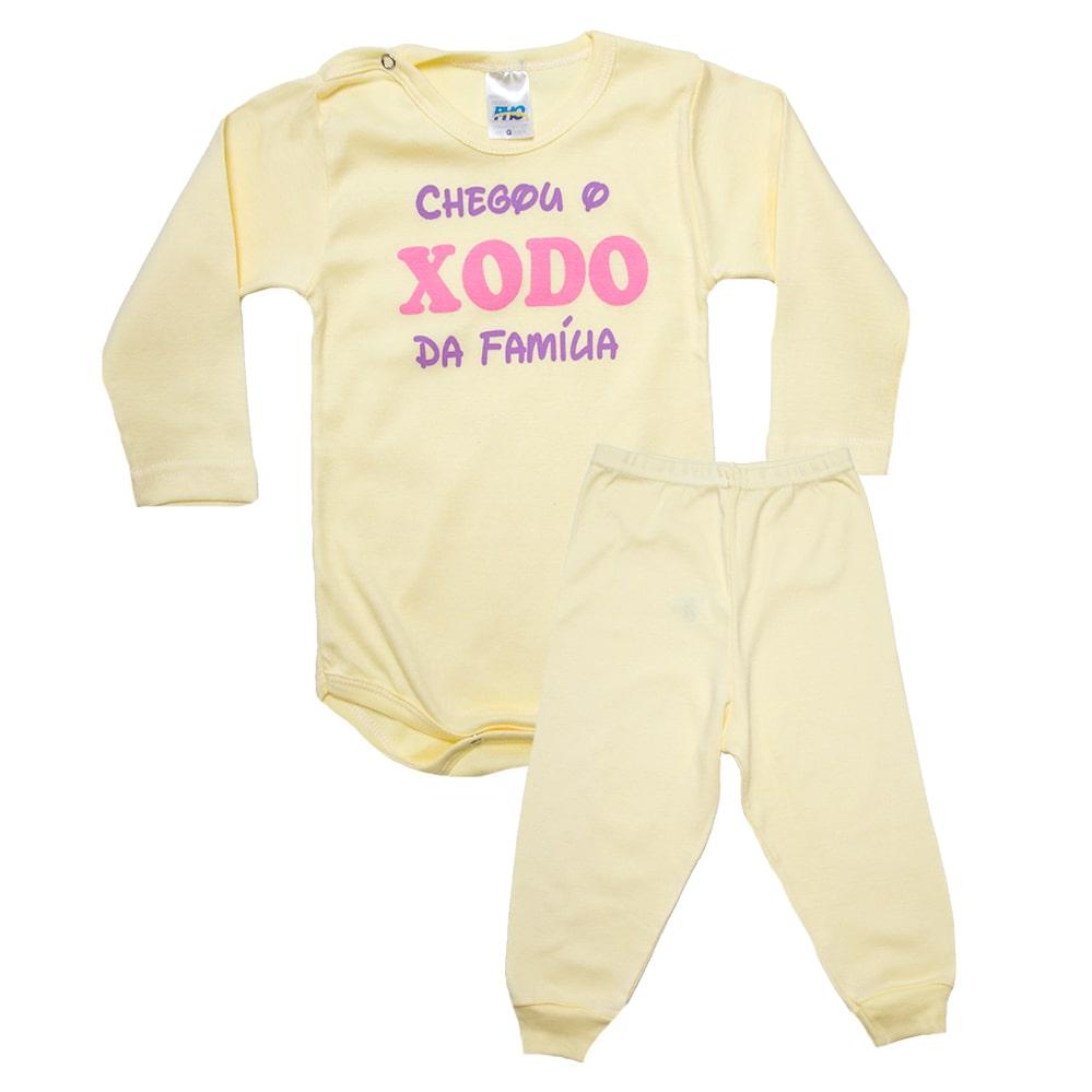Conjunto Bebê Body Xodó Da Família Amarelo Com Rosa  - Jeito Infantil