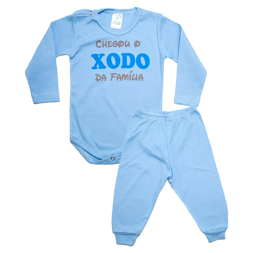 Conjunto Bebê Body Xodó Da Família Azul  - Jeito Infantil