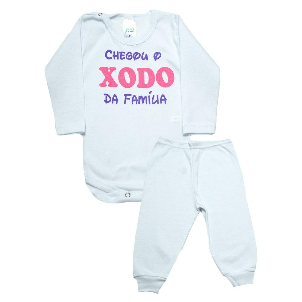 Conjunto Bebê Body Xodó Da Família Branco Com Rosa  - Jeito Infantil