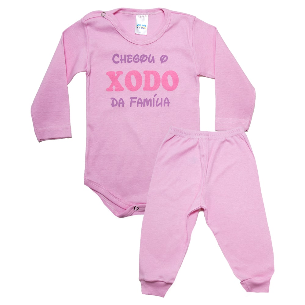 Conjunto Bebê Body Xodó Da Família  Rosa  - Jeito Infantil