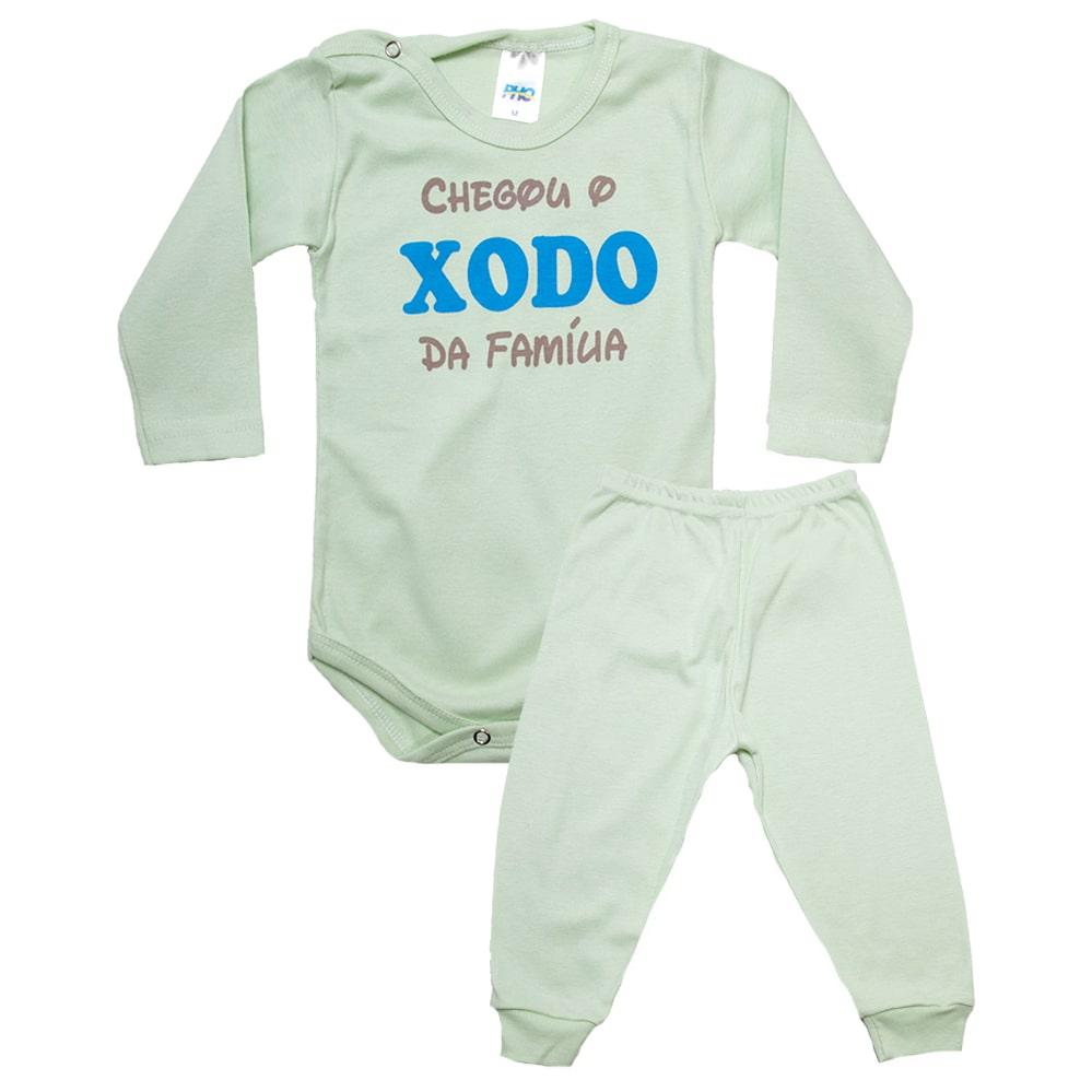 Conjunto Bebê Body Xodó Da Família Verde Com Azul  - Jeito Infantil