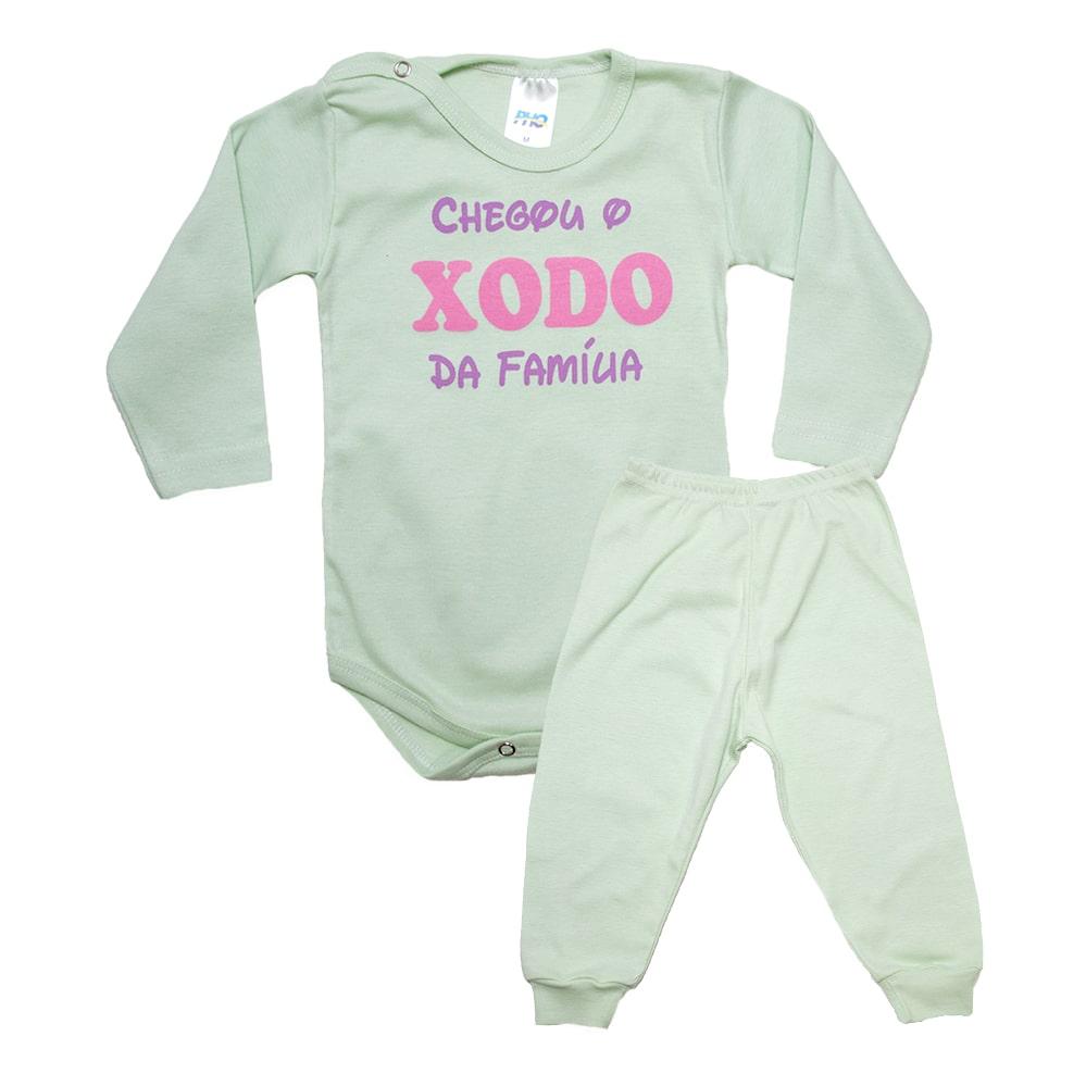 Conjunto Bebê Body Xodó Da Família Verde Com Rosa  - Jeito Infantil