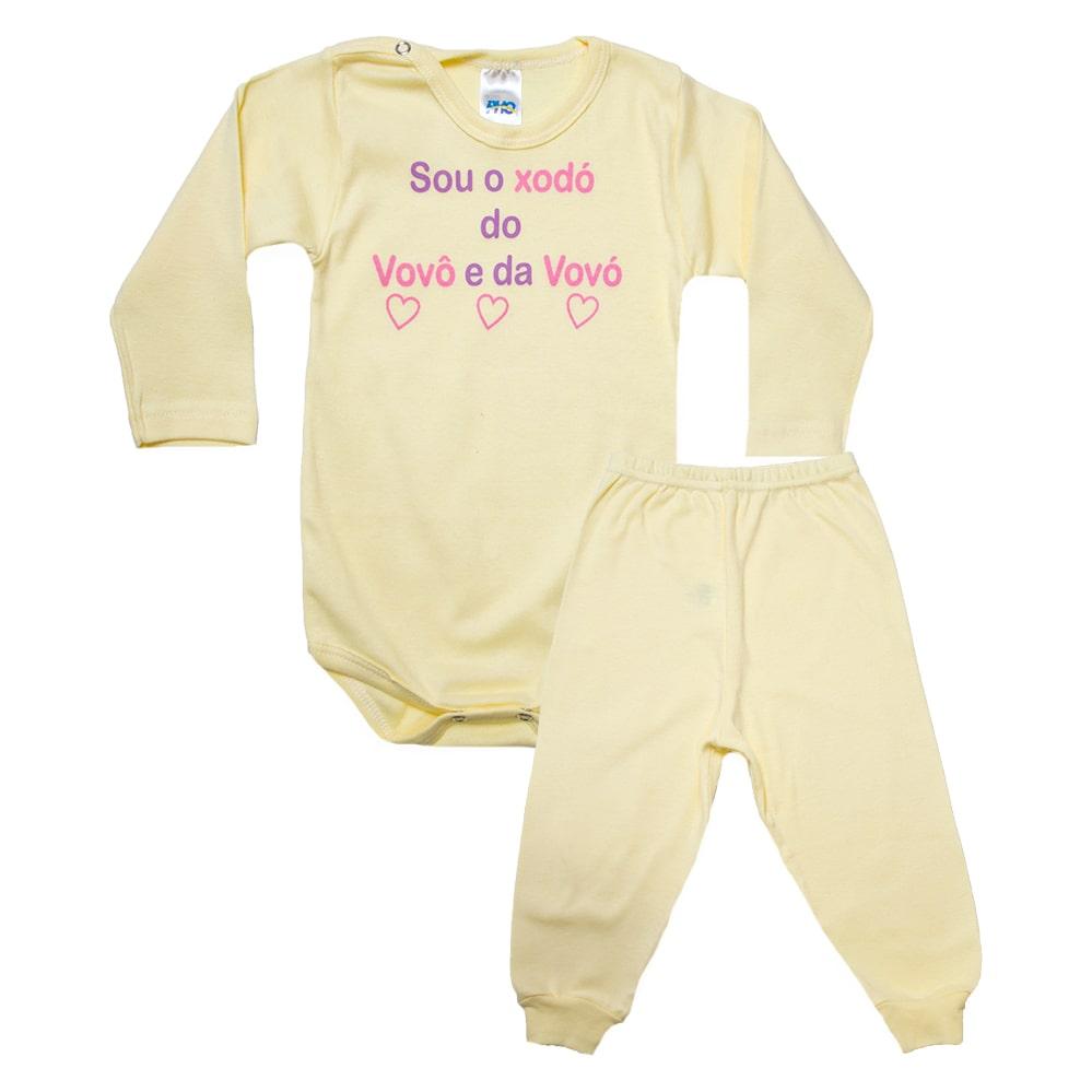 Conjunto Bebê Body Xodó do Vovô e Da Vovó Amarelo Com Rosa  - Jeito Infantil