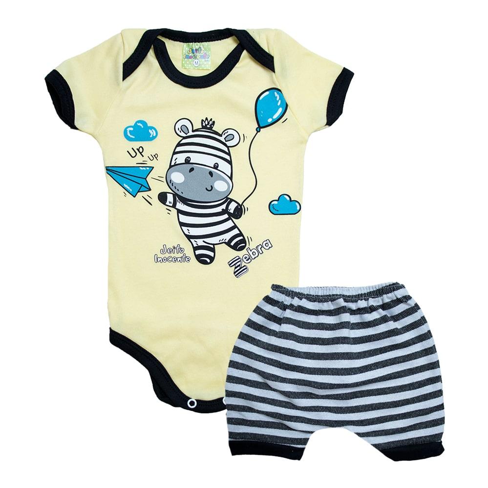 Conjunto Bebê Body Zebra Amarelo  - Jeito Infantil