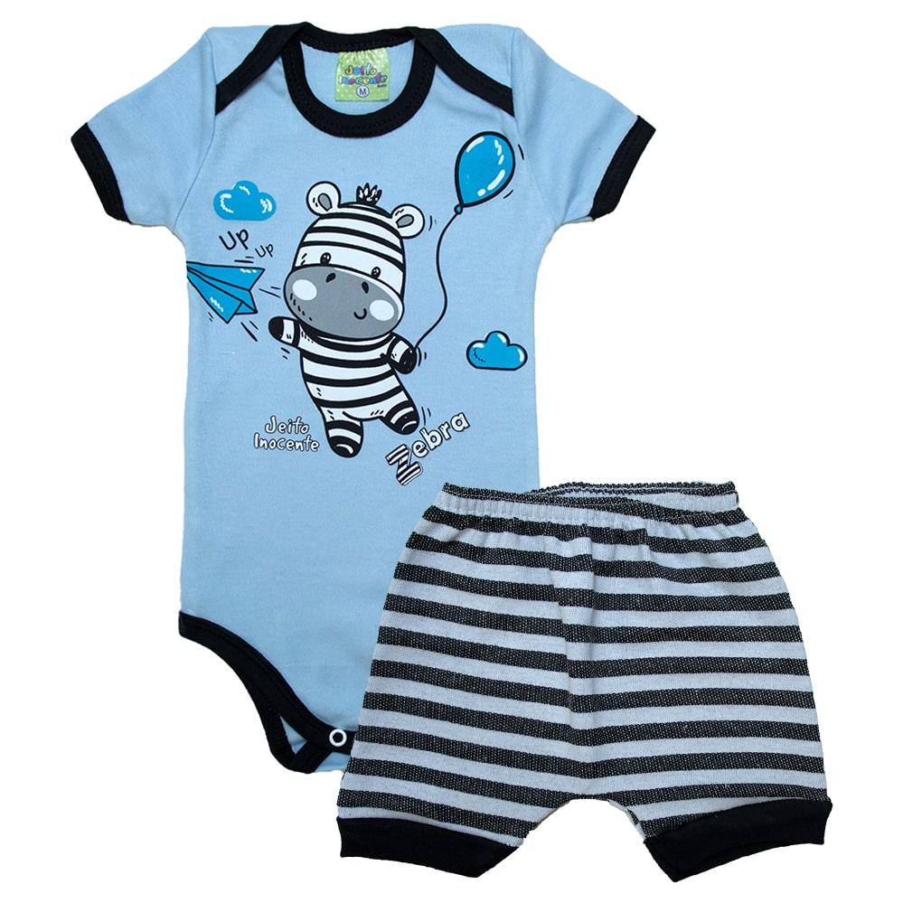 Conjunto Bebê Body Zebra Azul  - Jeito Infantil