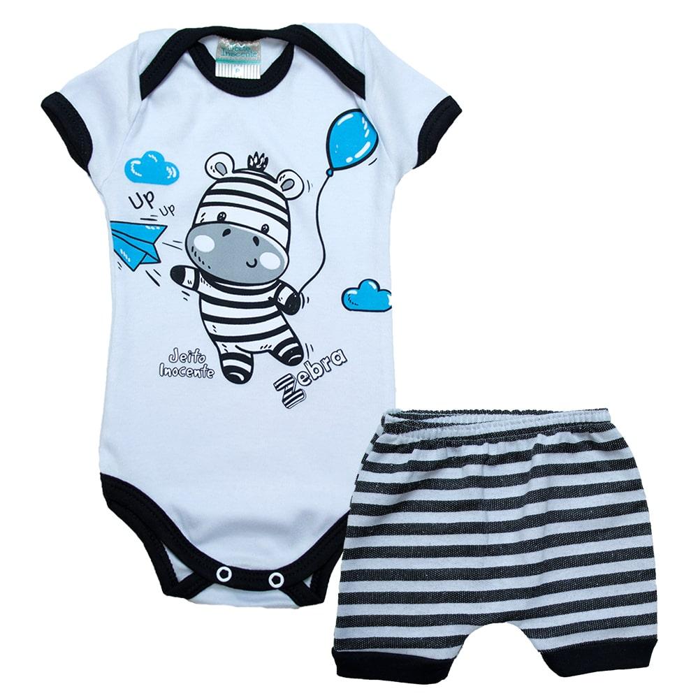 Conjunto Bebê Body Zebra Pérola  - Jeito Infantil