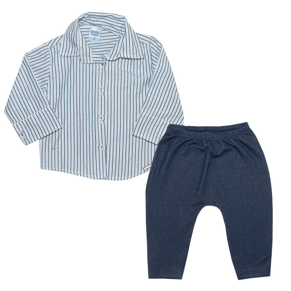Conjunto Bebê Camisa Social e Calça Azul  - Jeito Infantil