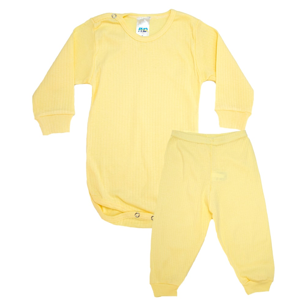 Conjunto Bebê Canelado Liso Amarelo  - Jeito Infantil