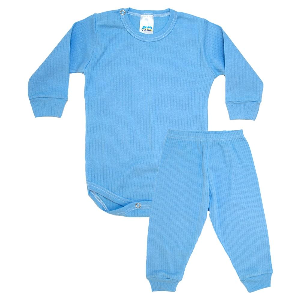 Conjunto Bebê Canelado Liso Azul  - Jeito Infantil