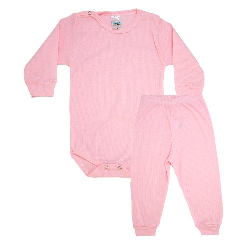 Conjunto Bebê Canelado Liso Rosa  - Jeito Infantil