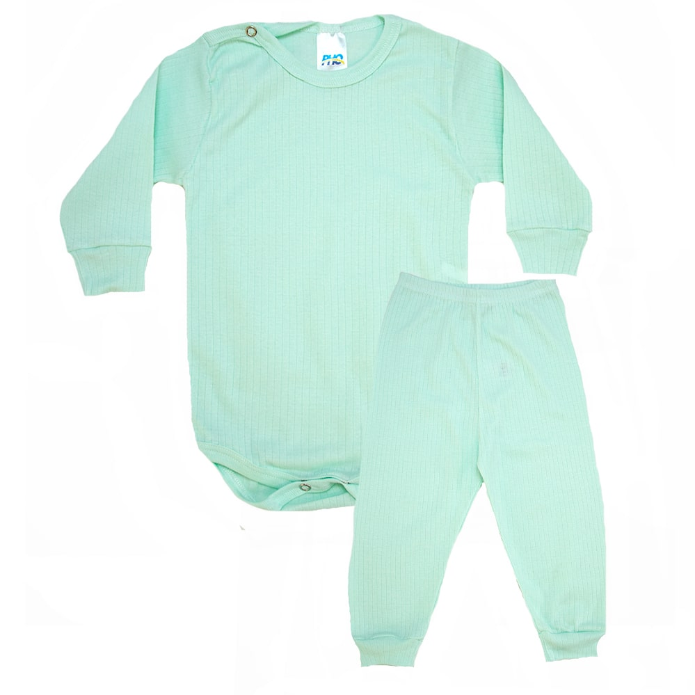 Conjunto Bebê Canelado Liso  Verde  - Jeito Infantil