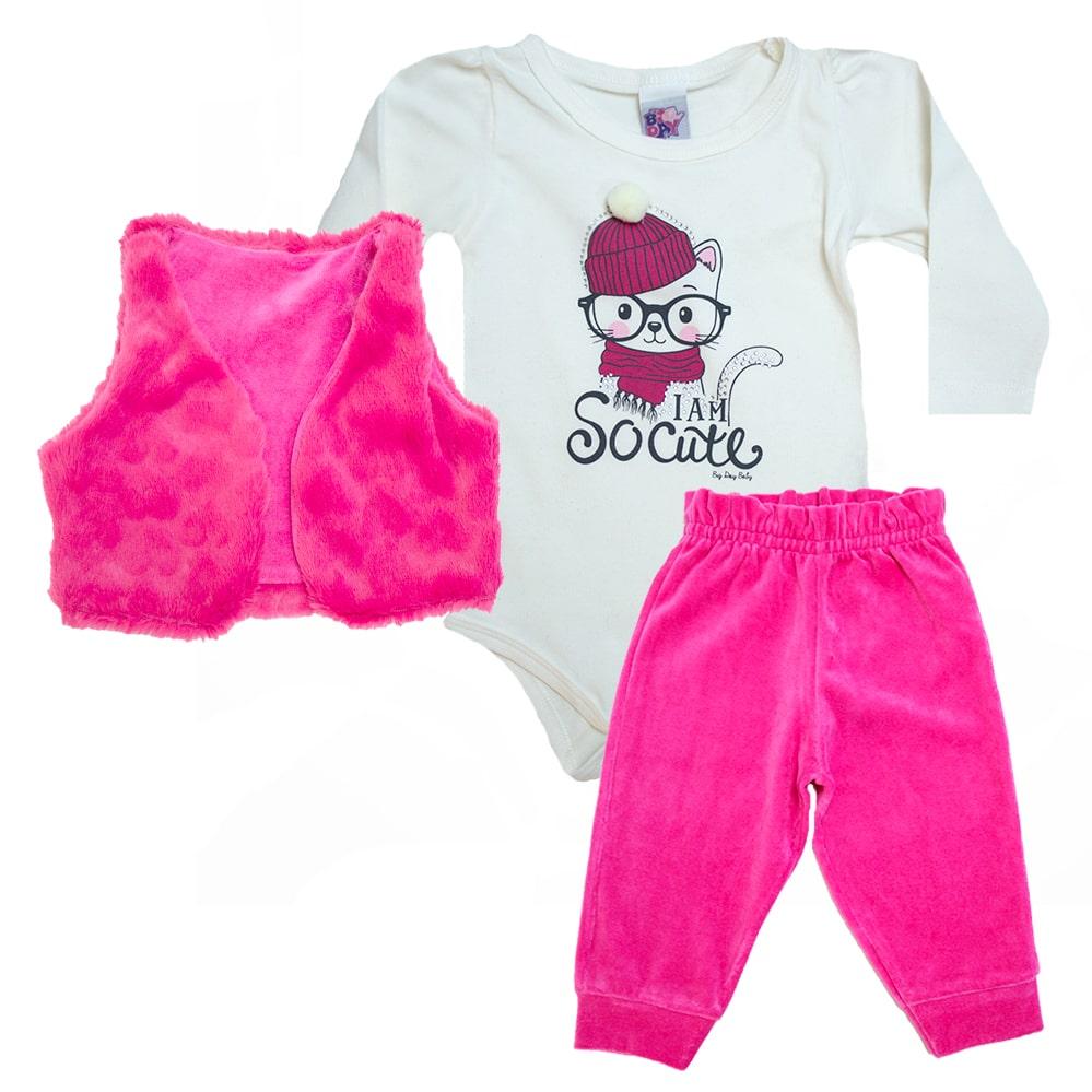 Conjunto Bebê Cat Pérola e Pink  - Jeito Infantil