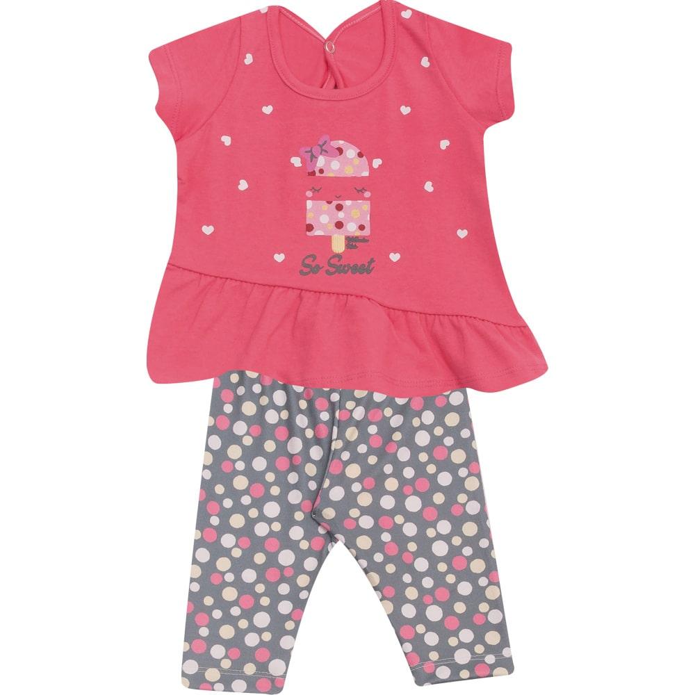Conjunto Bebê Ciclista Rosa  - Jeito Infantil