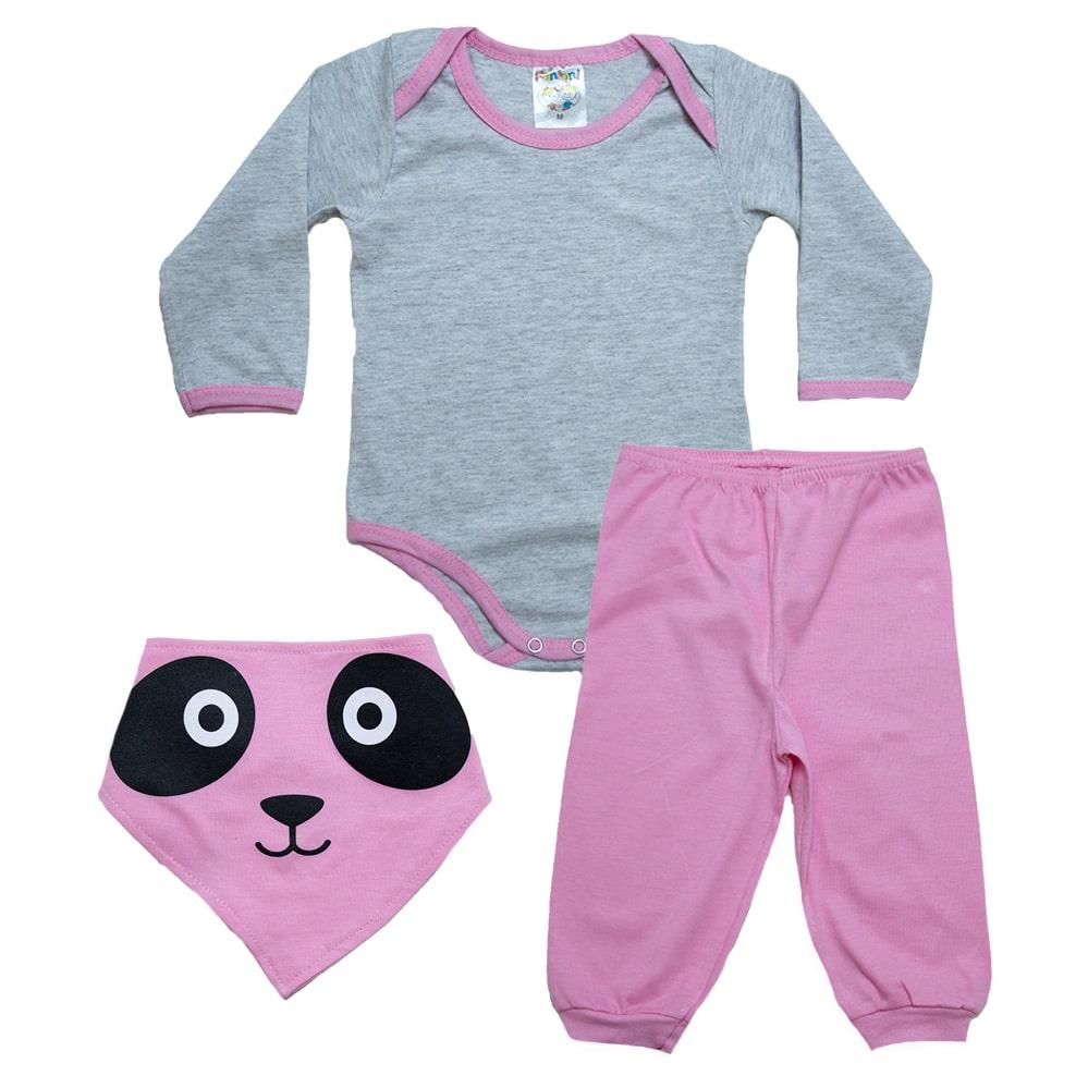 Conjunto Bebê Com Babador Panda  Mescla e Rosa  - Jeito Infantil