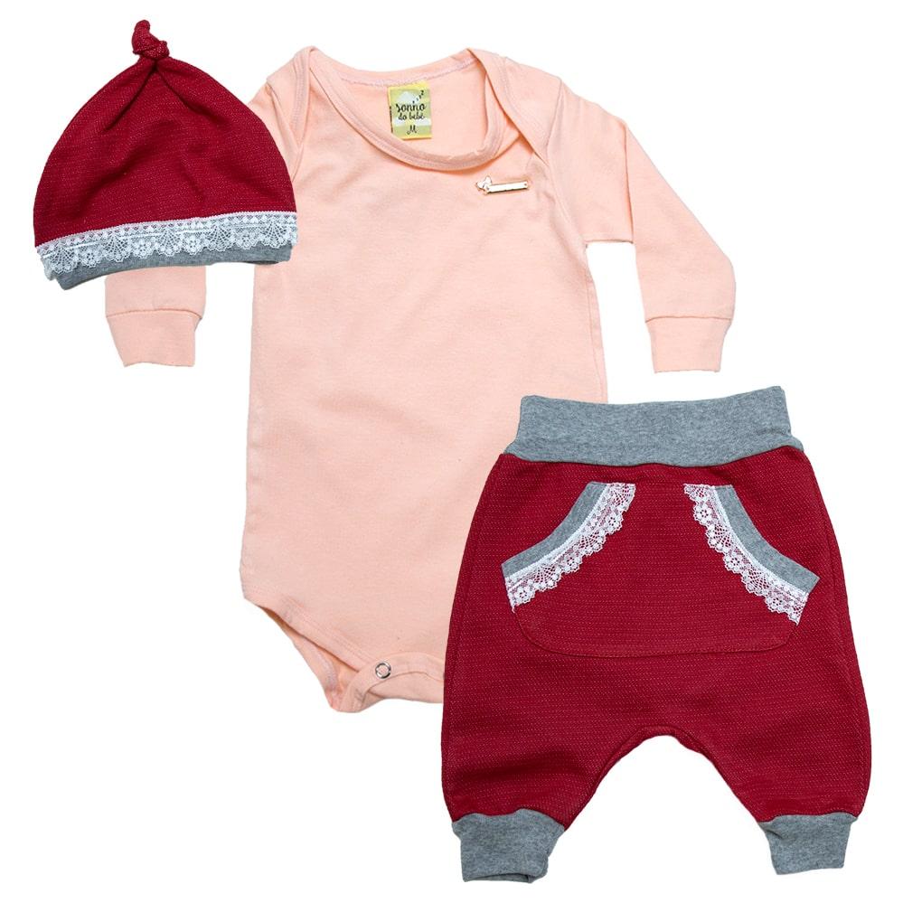 Conjunto Bebê Com Gorro Salmão E Vermelho  - Jeito Infantil