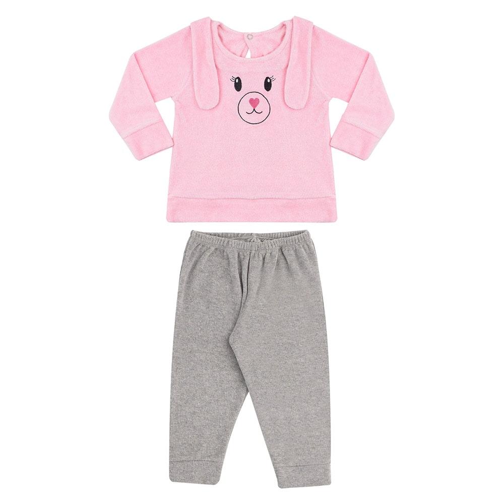 Conjunto Bebê Com Orelhinhas Rosa  - Jeito Infantil