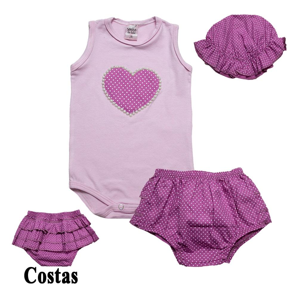 Conjunto Bebê Coração e Frufru Rosa (Pega Sol)  - Jeito Infantil