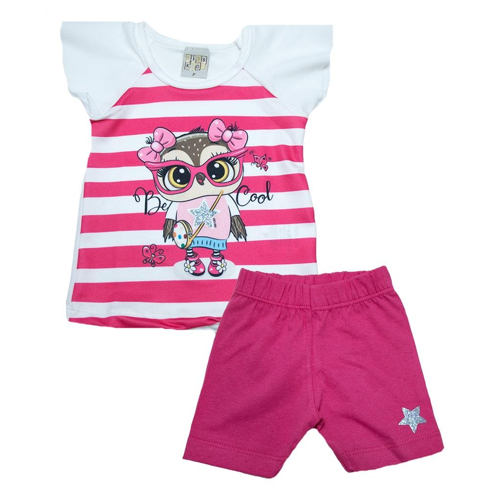 Conjunto Bebê Coruja Pink  - Jeito Infantil