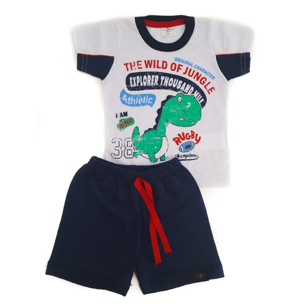 Conjunto Bebê Dino Branco  - Jeito Infantil