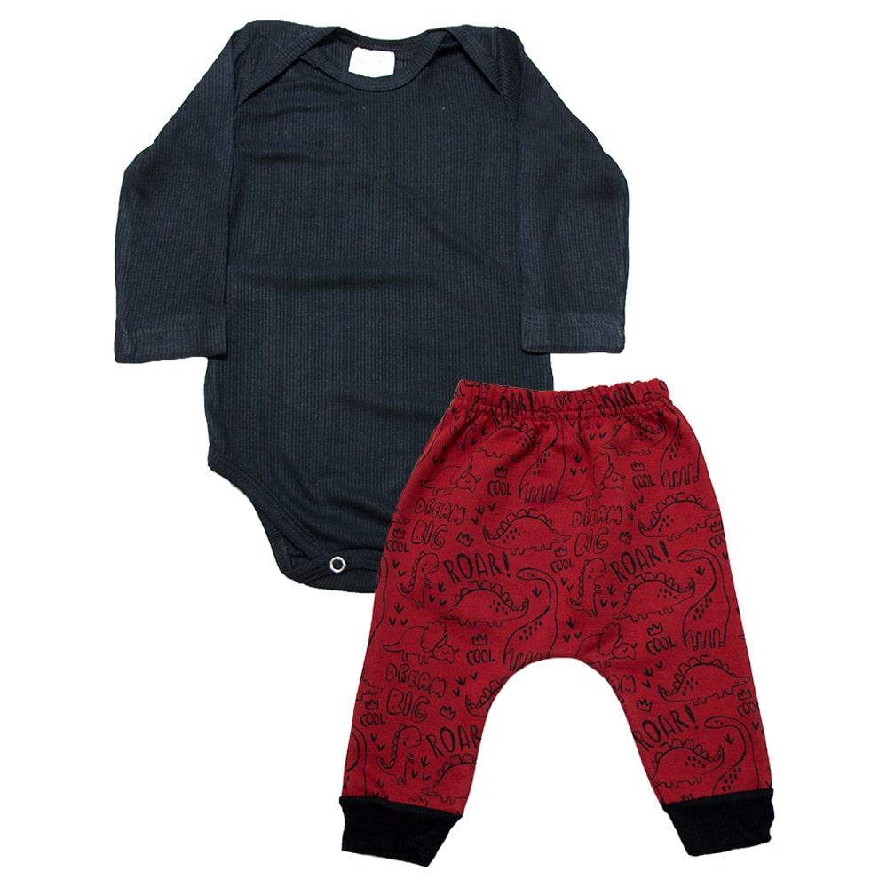 Conjunto Bebê Dino Preto e Vermelho  - Jeito Infantil