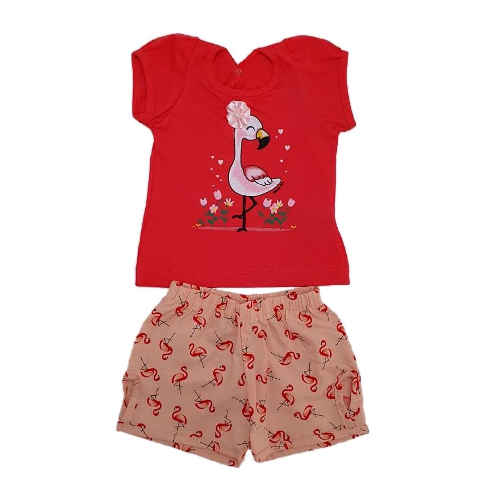 Conjunto Bebê Flamingo Laranja  - Jeito Infantil