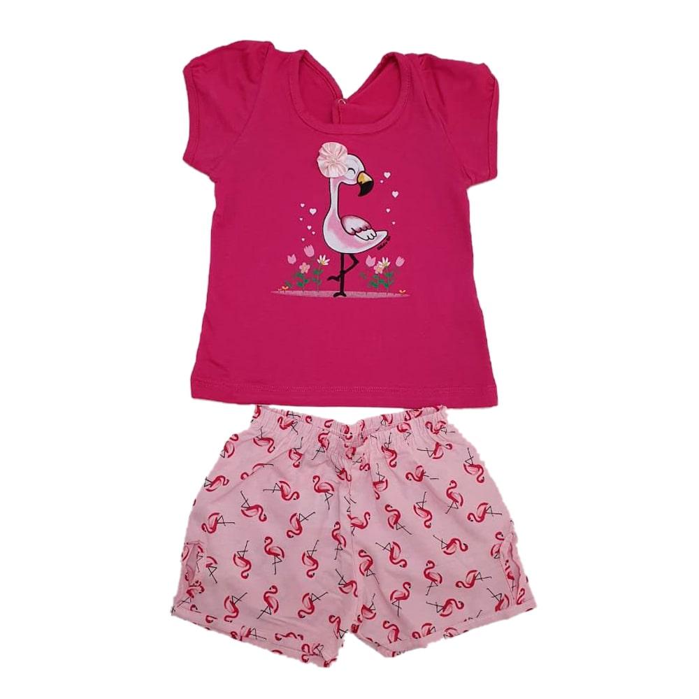 Conjunto Bebê Flamingo Pink  - Jeito Infantil