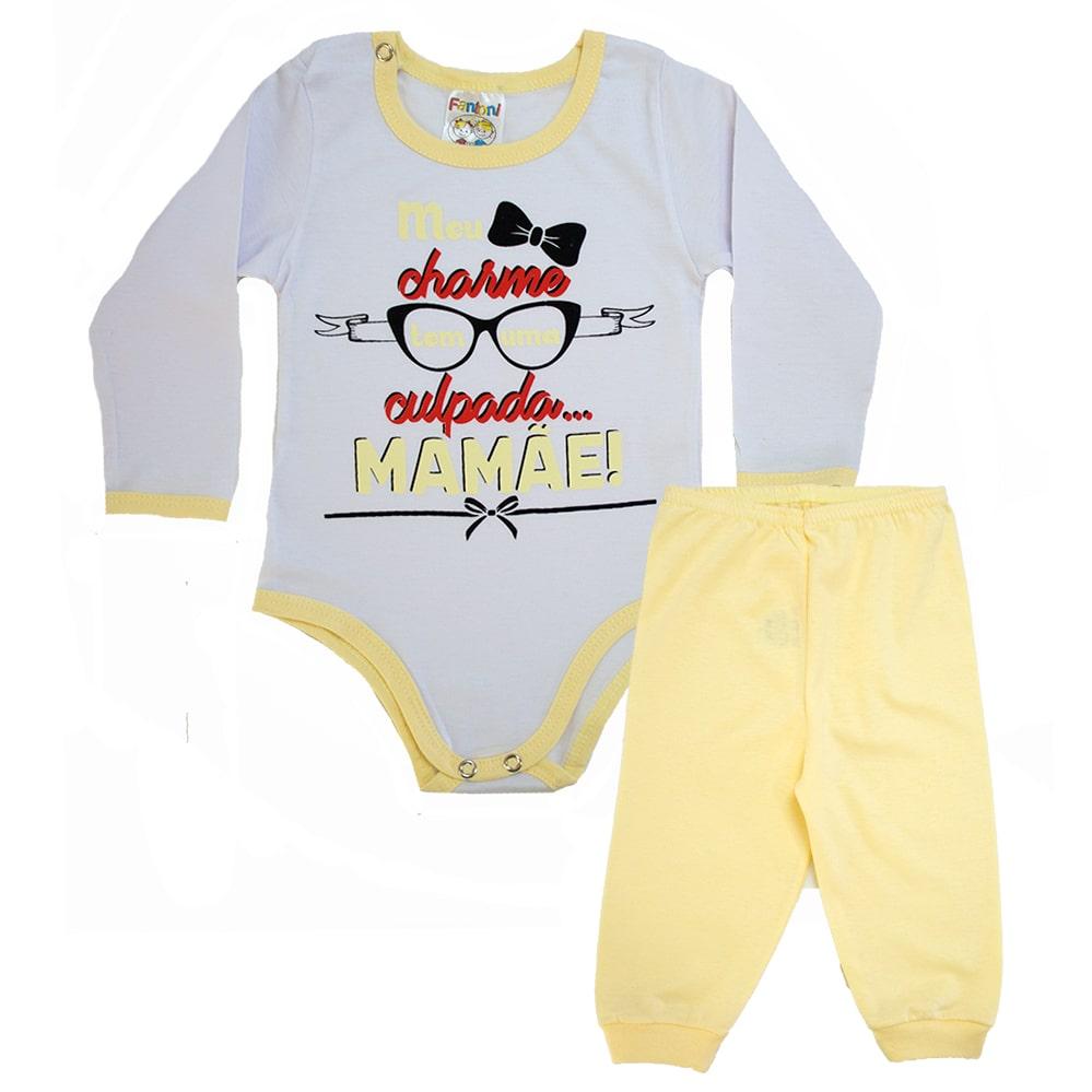 Conjunto Bebê Frase Meu Charme Amarelo  - Jeito Infantil