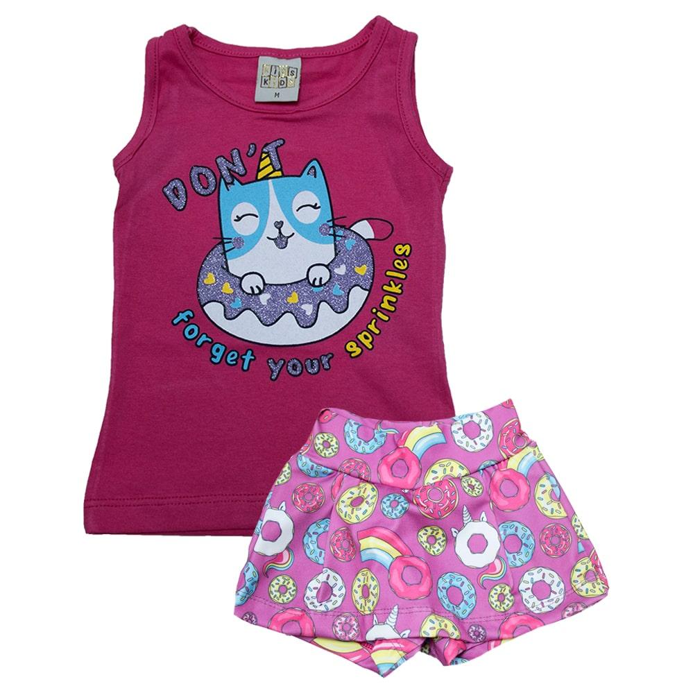 Conjunto Bebê Gatinha Pink  - Jeito Infantil