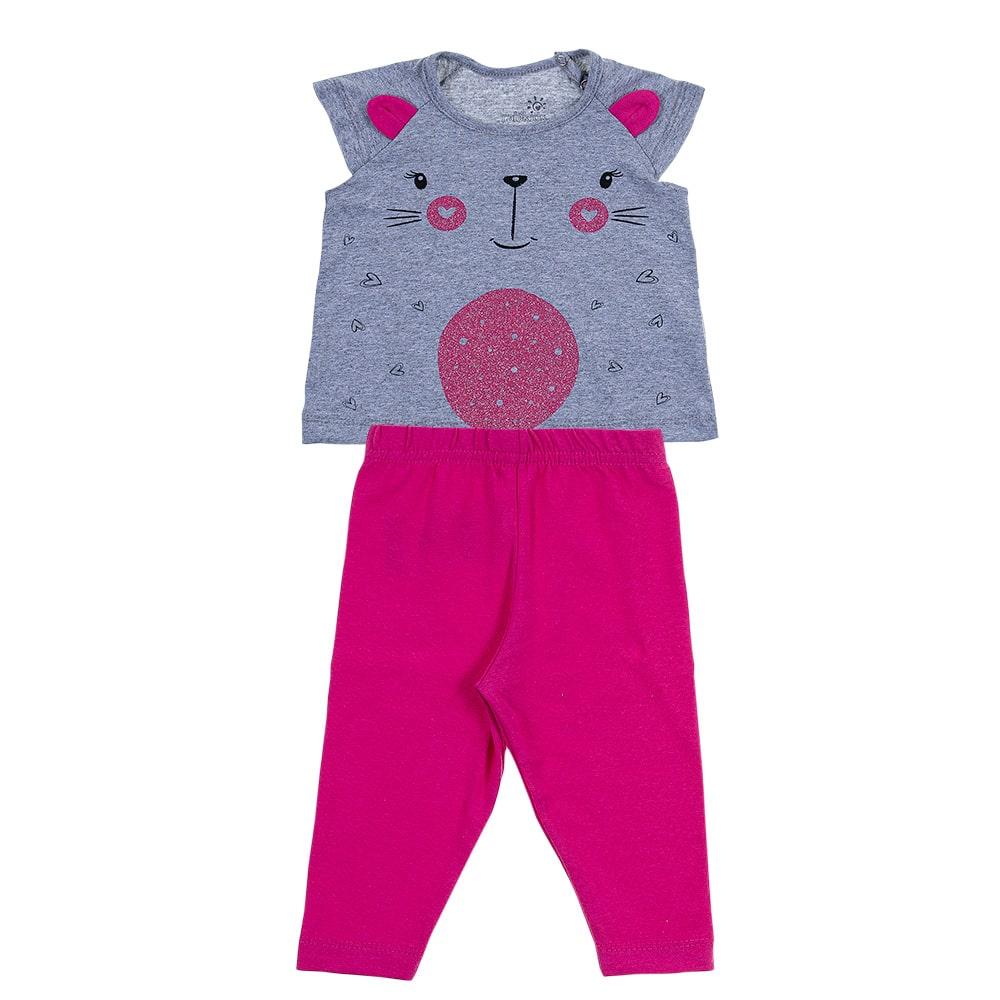 Conjunto Bebê Gatinho Pink  - Jeito Infantil