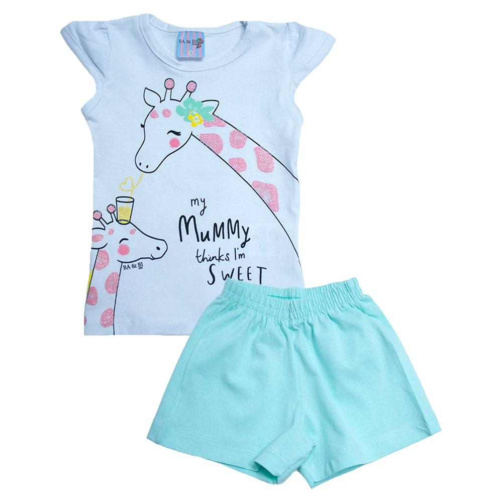 Conjunto Bebê Girafa Branco  - Jeito Infantil