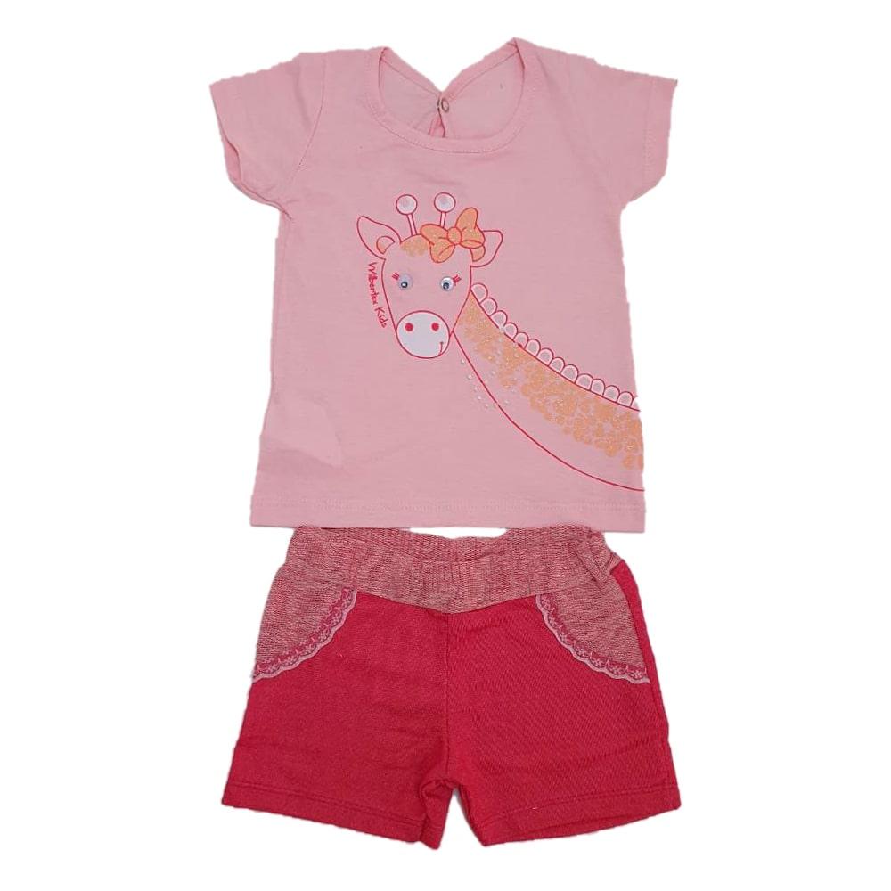 Conjunto Bebê Girafa Rosa  - Jeito Infantil