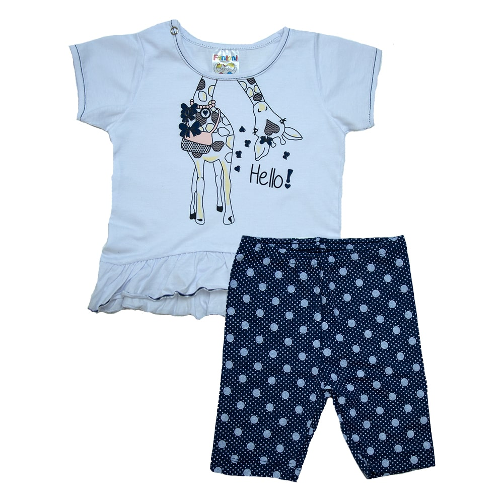 Conjunto Bebê Girafinha  Branco Com Marinho  - Jeito Infantil