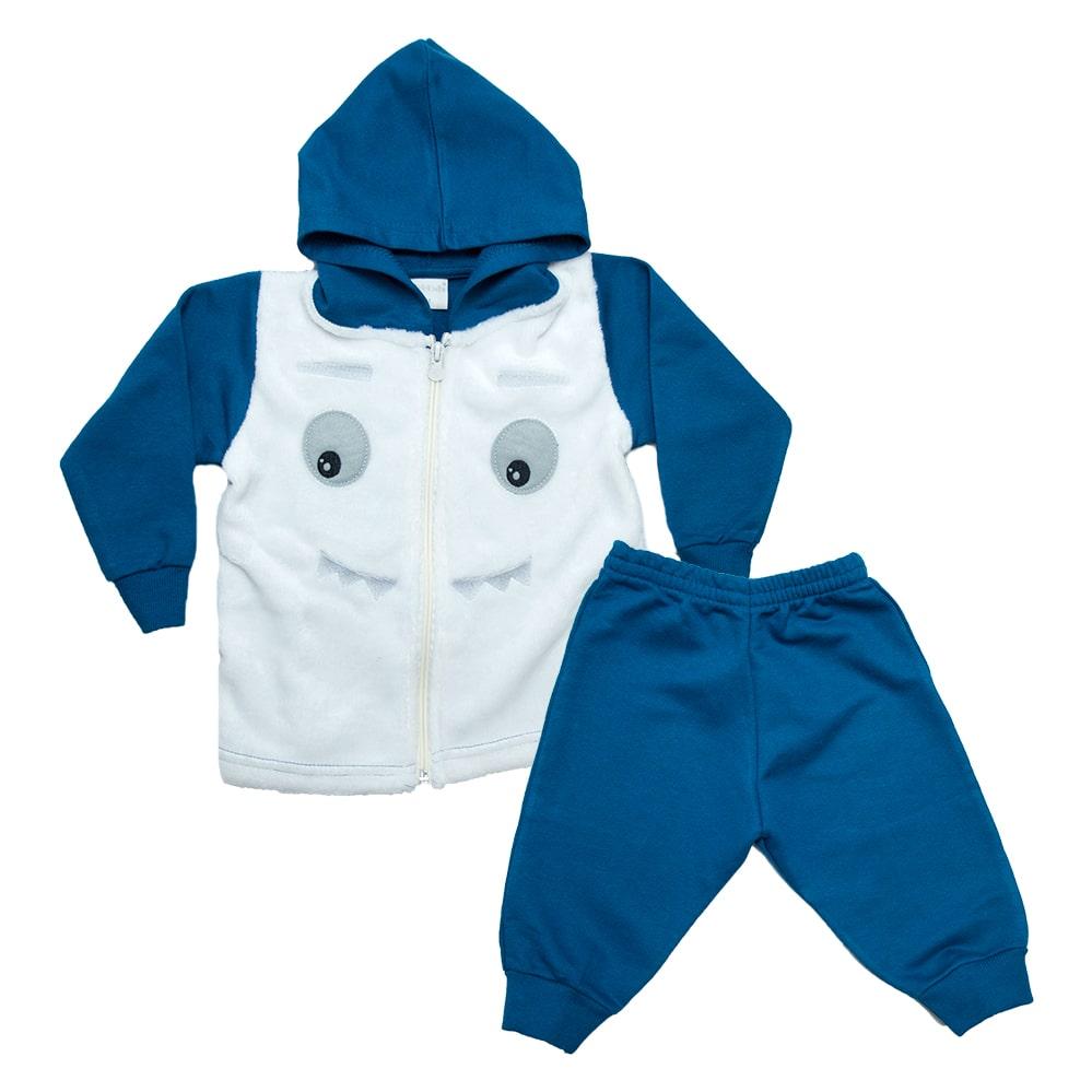 Conjunto Bebê Jaqueta Com Plush Azul Petróleo  - Jeito Infantil