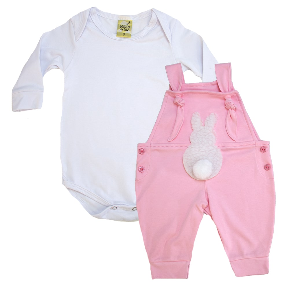 Conjunto Bebê Jardineira Branco e Rosa  - Jeito Infantil