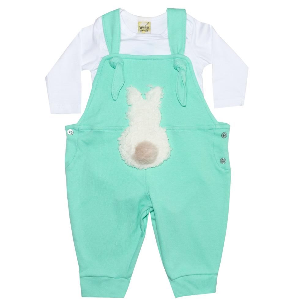 Conjunto Bebê Jardineira Branco e Verde  - Jeito Infantil