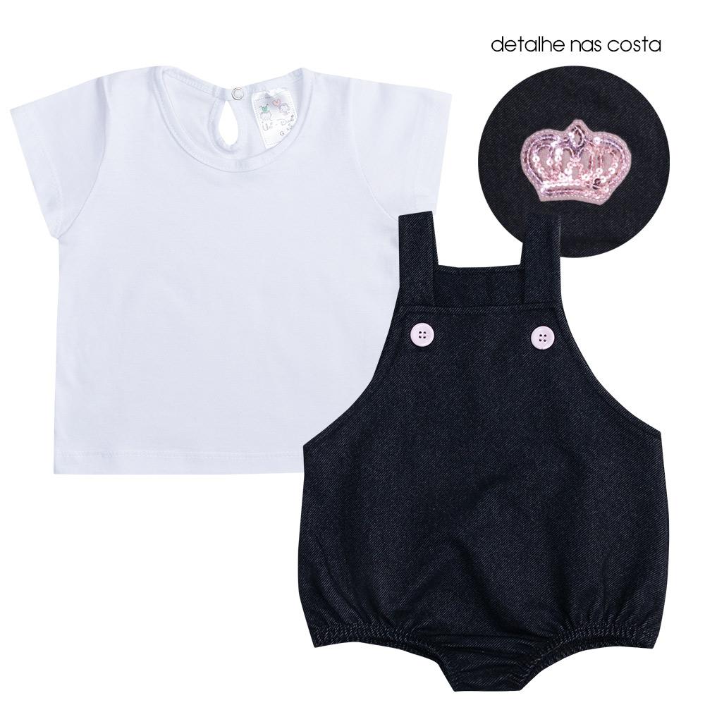 Conjunto Bebê Jardineira Coroa Preto  - Jeito Infantil